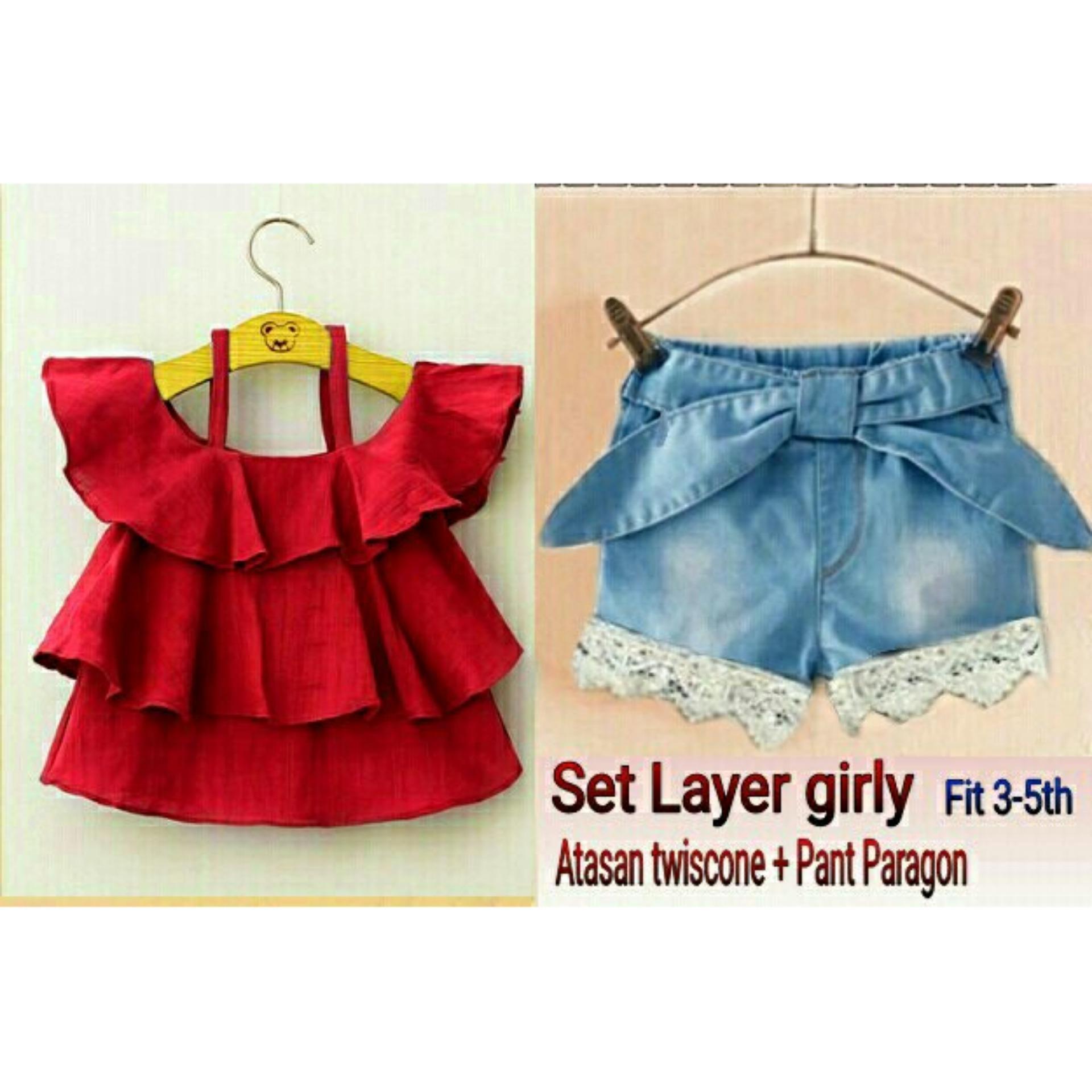 C&Buy Store Setelan Atasan Baju dan Celana Anak Perempuan LAYER GIRL - MAROON / Setelan Anak