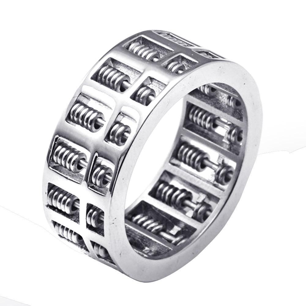 Titanium Steel Abacus Ring Retro Tide Men Punk Stainless Steel Rotating Abacus Ring - intl