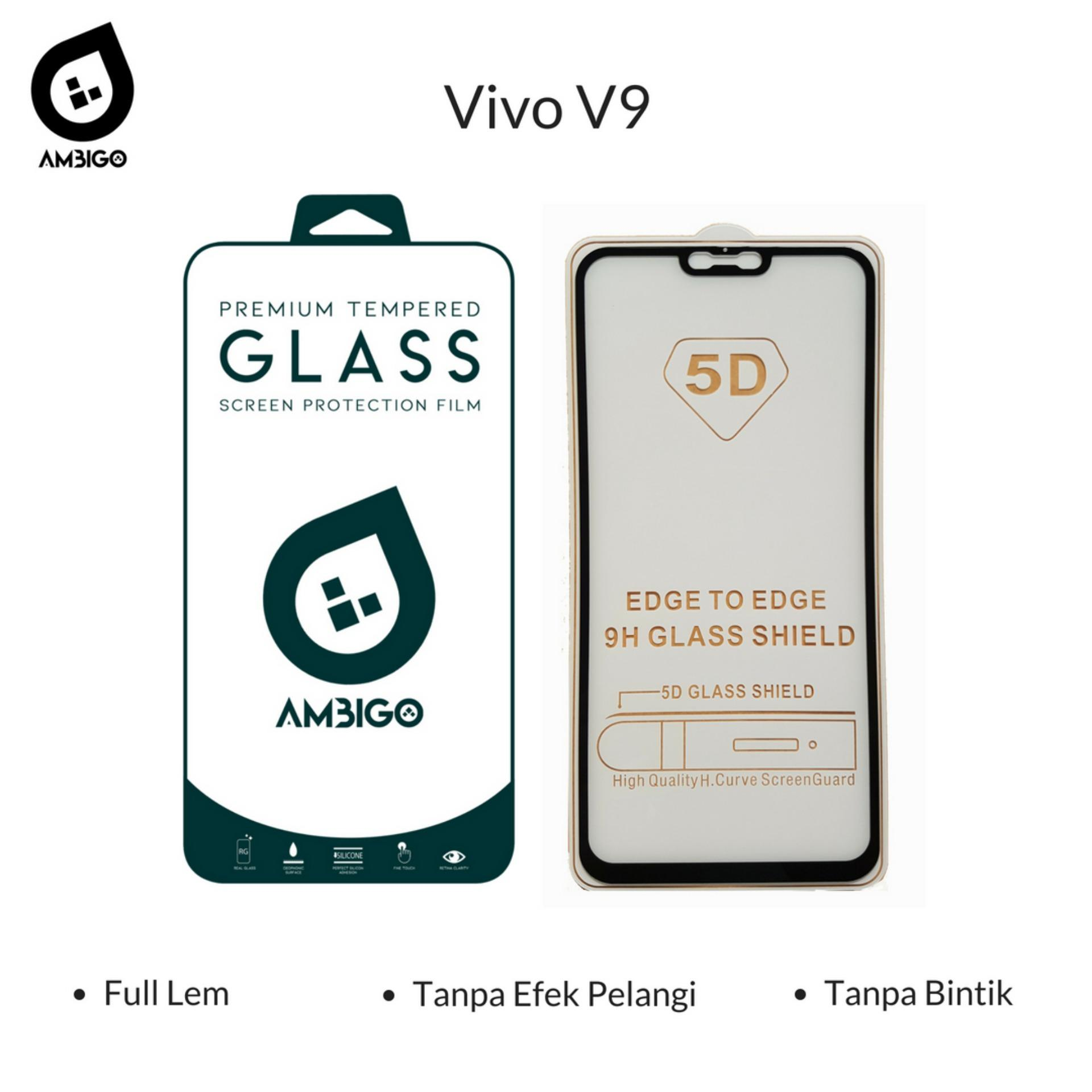 Tempered Glass 5D Full Cover Warna Anti Gores Kaca Full Lem Untuk Vivo V9