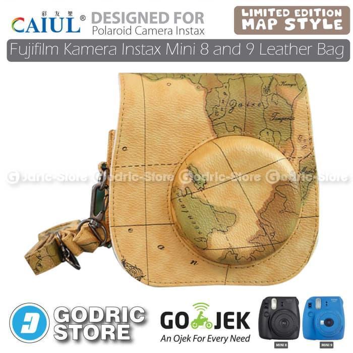 Fujifilm Kamera Instax 8s Leather Bag/Tas/Case - Coklat Map Edition