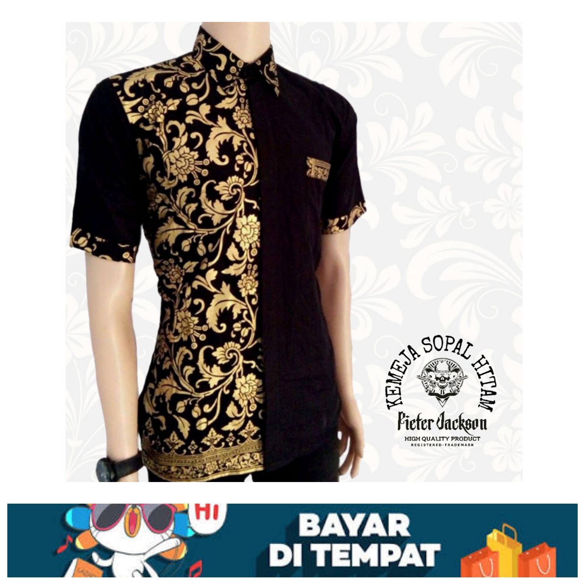 Batik Pekalongan Batik Pria Lengan Pendek Baju Batik Pria Kemeja Pria Lengan Pendek Kombinasi Bakung