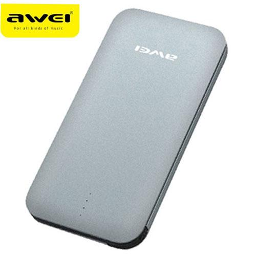 Awei Power Bank Super Slim Micro USB 3A 8000mAh with Lightning Adapter - P20K - Gray