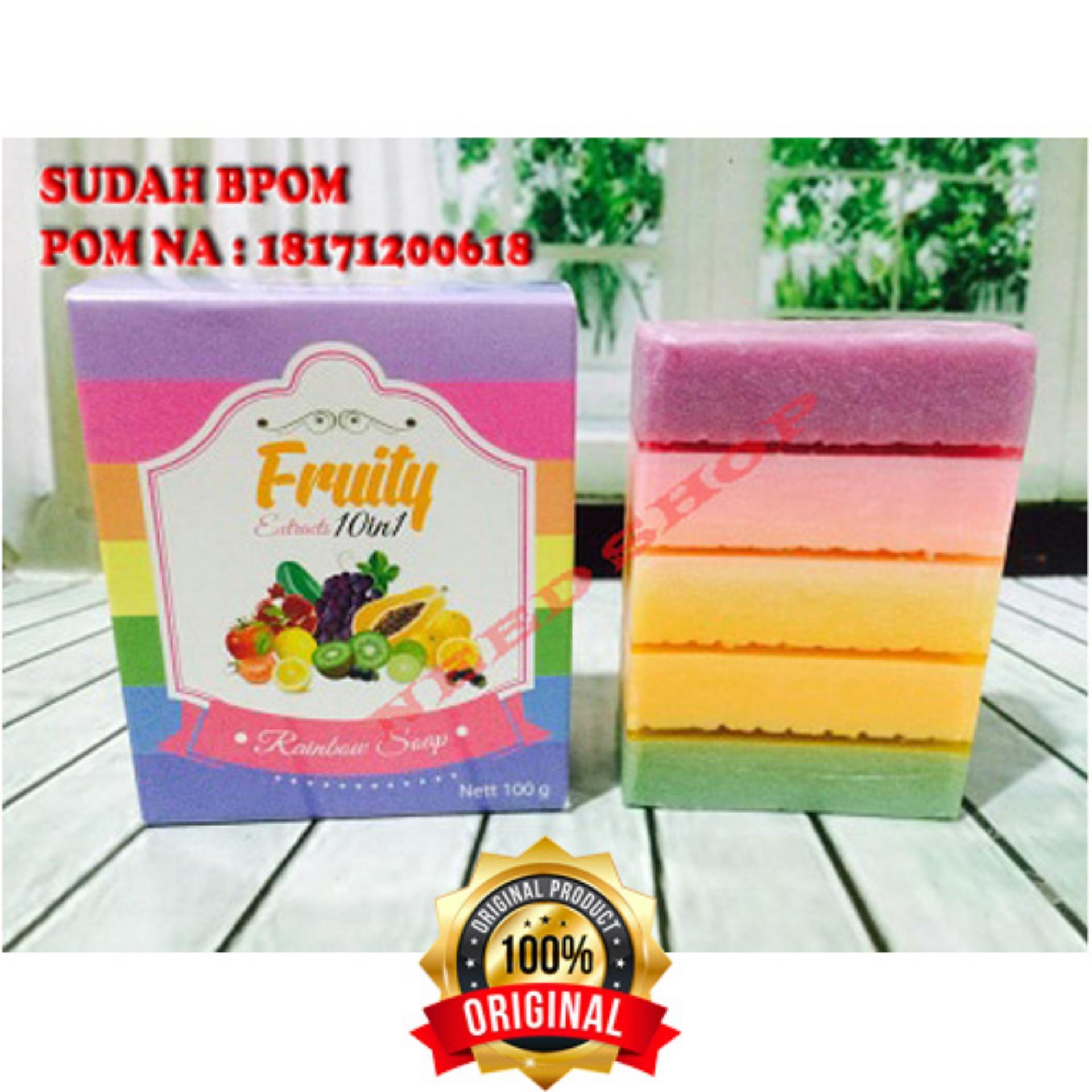 HOKI COD - Fruity Rainbow Soap 10 in 1 Whitening Soap Fruitamin Original Sabun Pemutih Badan BPOM + Gratis Pulpen Lilin Unik Serba Guna Hitam Pekat - 1 Pcs ...
