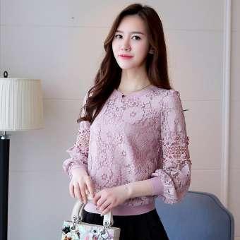 เสื้อแขนยาว กลวง คอกลม ผู้หญิง สไตล์เกาหลี