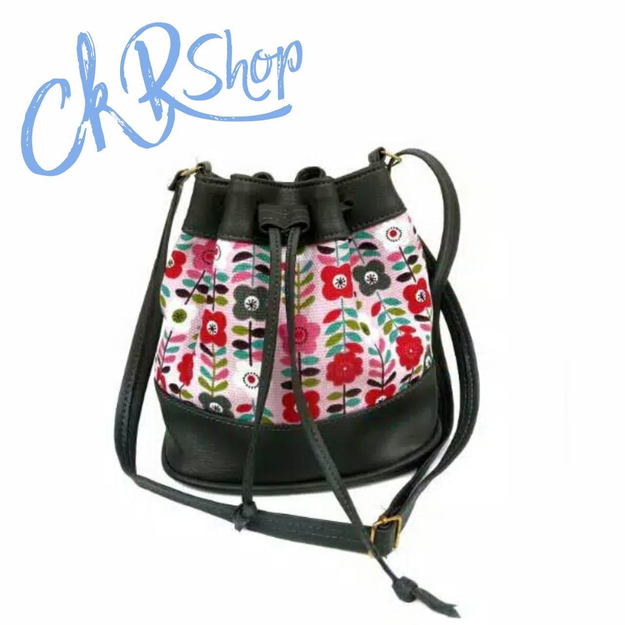 CKR Shop - Tas Selempang Wanita / Tas Serut Bandul / Tas Motif Bunga Haruno Sakura