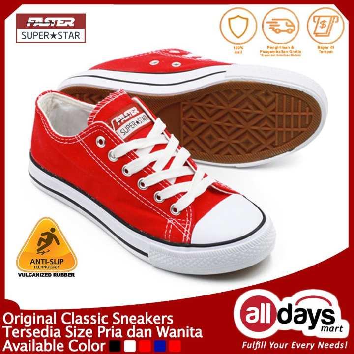 Faster Sepatu Sneakers Kanvas Wanita 1603-03 - Merah/Putih