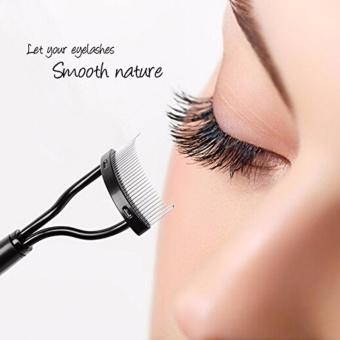 Hengsong Eyelash Comb Curlers Makeup Mascara Aplikator Guide Tool Alis Grooming Brush Tool (hitam)