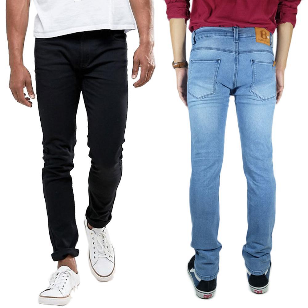 Rp149.500Jeans panjang model slimfit warna biru & hitam size 27-38