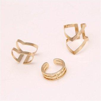 Buytra panas perhiasan aksesoris unik New Tung borgol jari cincin 3 buah/set hadiah perhiasan