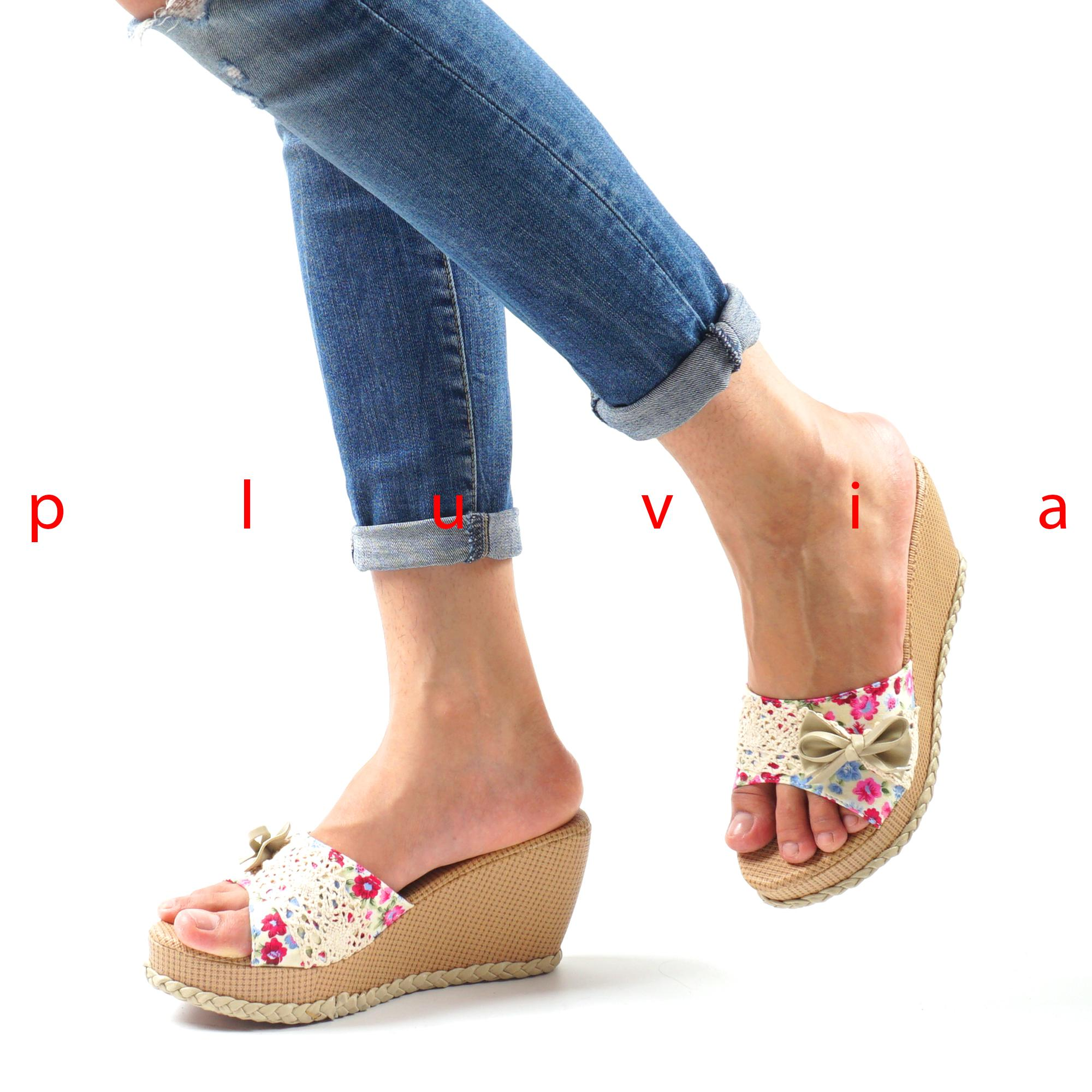 Pluvia - Sandal Wedges Wanita Ribbon Flowery IP07 - Cream | Lazada Indonesia