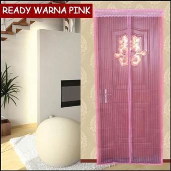 Tirai Anti Nyamuk Magnet Polos - Pink