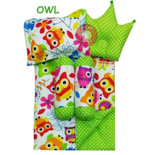 Baby Bed Set Sarung Lepas Bedcover Selimut Bantal Crown bbb Guling Alas Tidur cover Bayi karakter - OWL