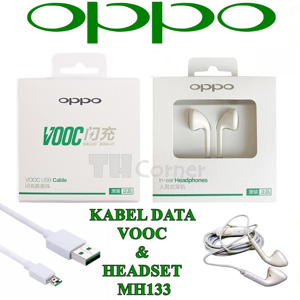 OPPO VOOC Kabel Data Fast Charging + Oppo Headset MH133 Jack a/v 3.5mm Original