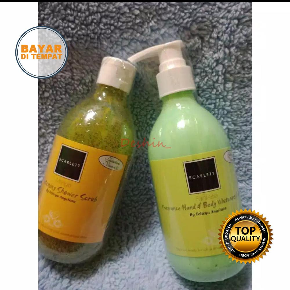 Paket Scarlett Whitening Shower Scrub dan Scarlett Whitening Body Lotion Original (Sabun Mandi & Body