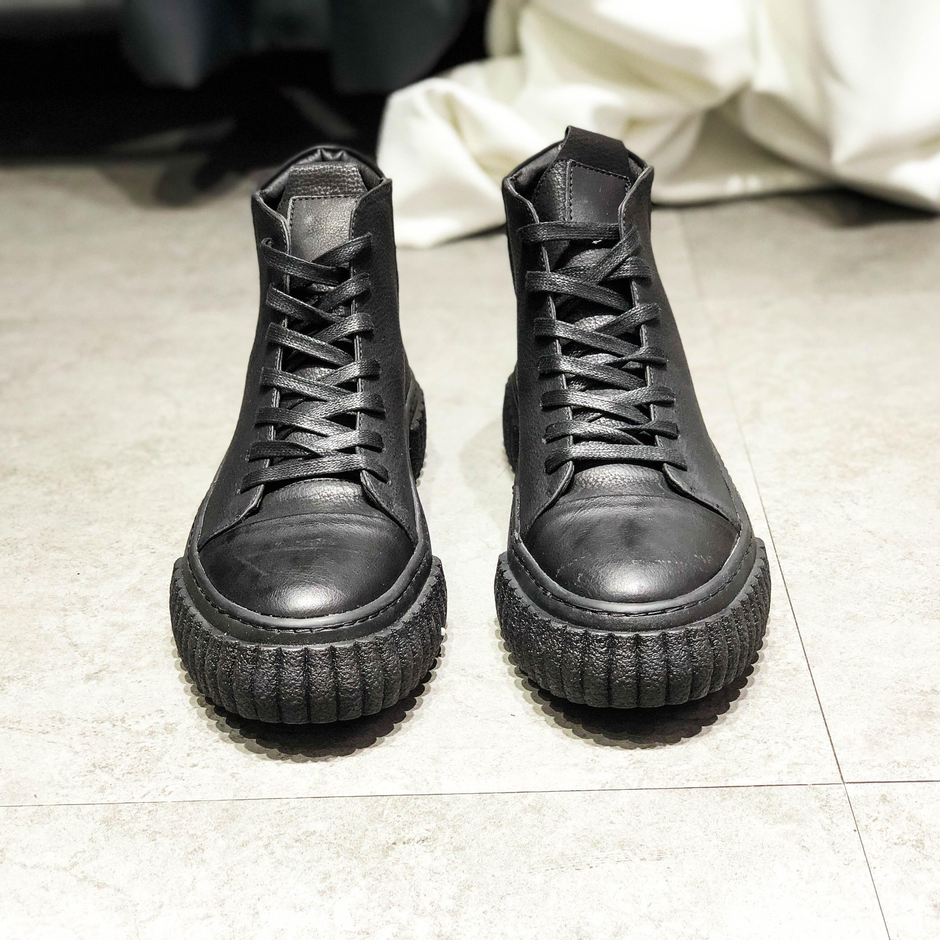 Europe Station Kulit Pria Pergelangan Kaki Tinggi Sepatu Sepatu Trendi (Hitam)