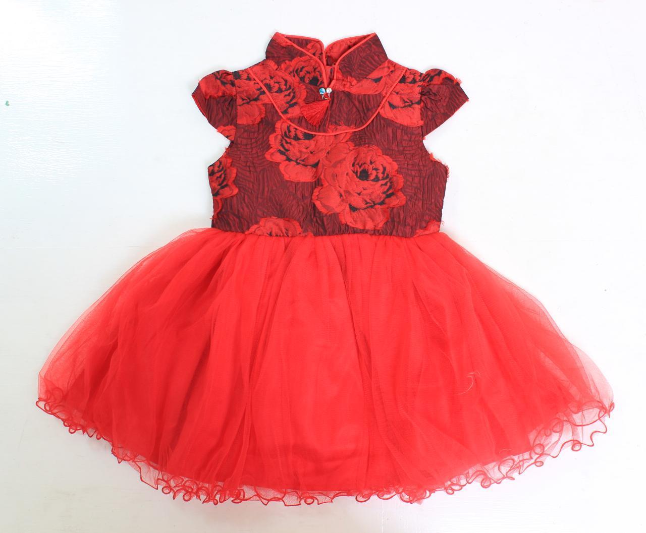 PLAYFUL TOTS Dress Ciongsam Anak Tutu Bunga Merah