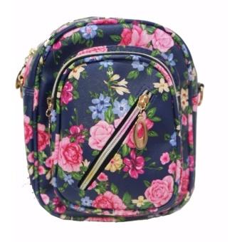 Freeshop Ransel Tas Small Flower Kanvas Pencetakan Tas Sekolah Berlibur Bahu Bag Navy - S306