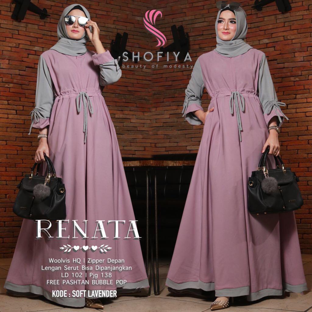Baju Muslim Modern RENATA DRESS Bahan BALOTELI GAMIS WANITA TERBARU 9  Gamis Wanita Remaja Gamis Wanita Jumbo