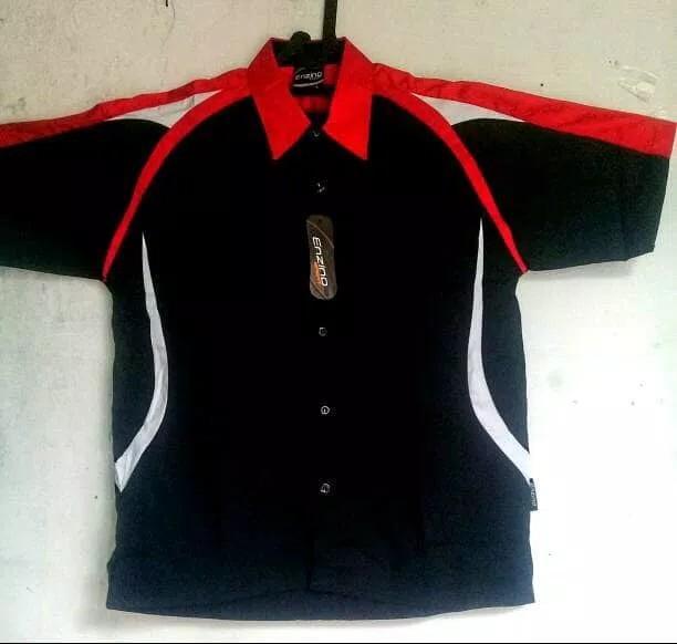 Rp75.000kemeja seragam tyt hitam kombinasi merah