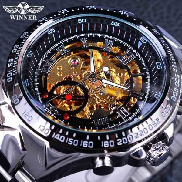 Đồng hồ cơ nam thương hiệu nổi tiếng, mặt tròn đường kính 4.5mm, dày 15mm, được làm bằng thép chống gỉ - Forsin Skeleton bán chạy
