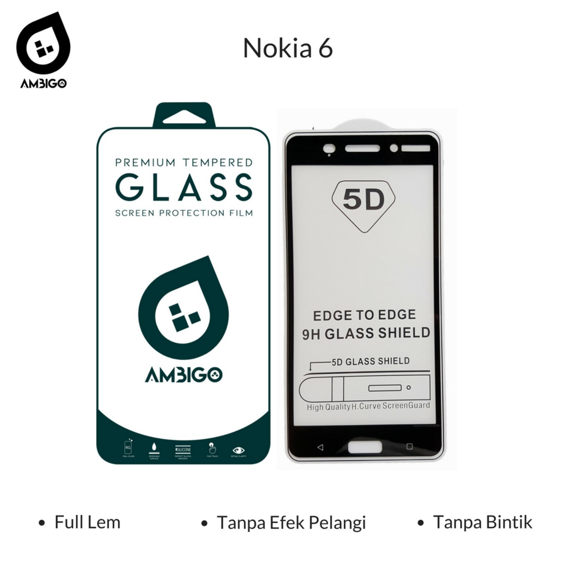 Tempered Glass 5D Full Cover Warna Anti Gores Kaca Full Lem Untuk Nokia 6