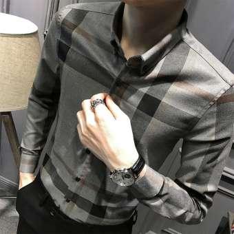 เสื้อเชิ้ตลายสก๊อตแขนยาว ผู้ชาย แนว เกาหลียี่ห้อJialun (สีเทา)-