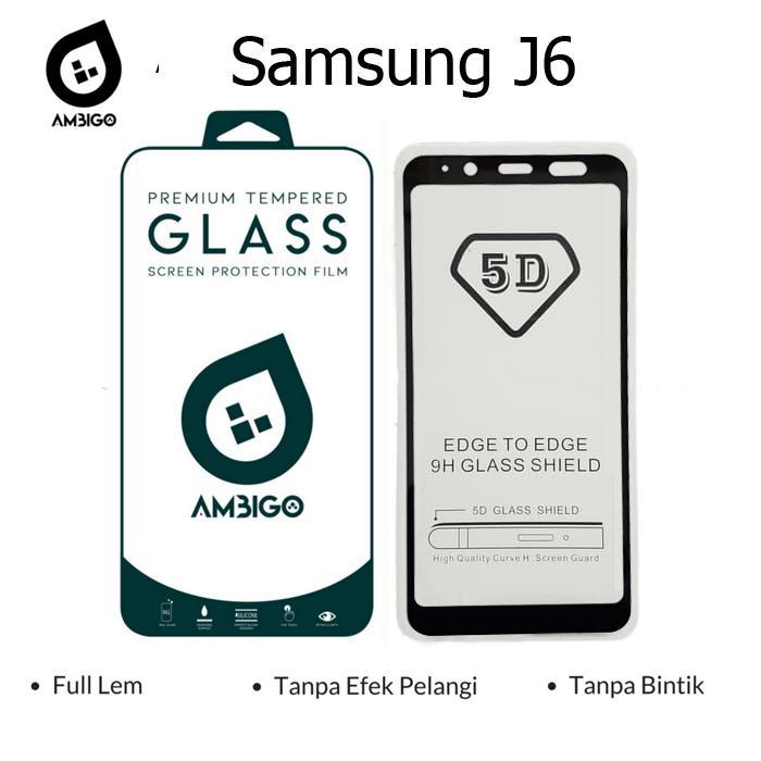 Kenzoe Tempered Glass 5D Full Cover Warna / Anti Gores Kaca Full Lem For Samsung Galaxy J6 2018 - Black