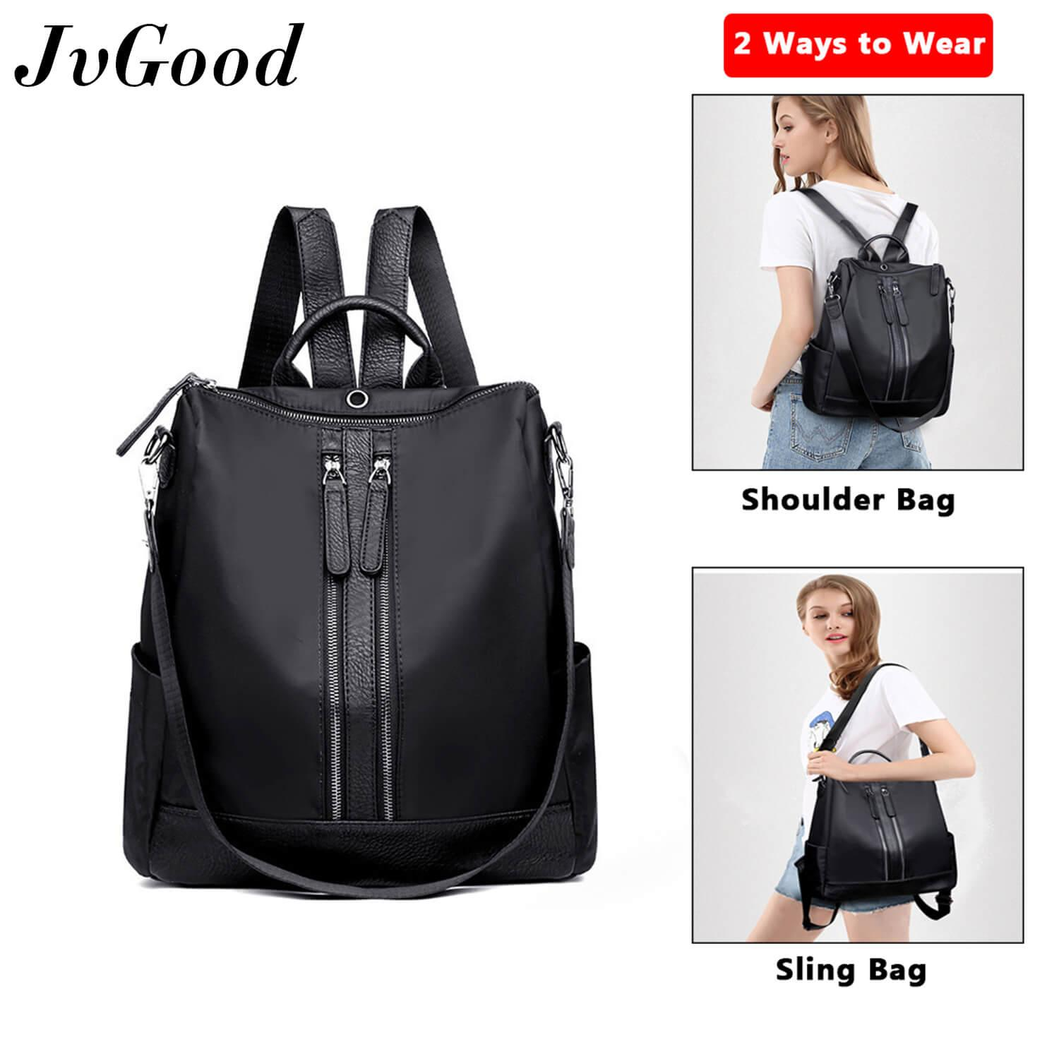 JvGood Shoulder Backpacks Women Korean Style Sling Bag  Women Bag Handbag  Waterproof Oxford Daypack Lightweight with Earphone Pore