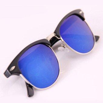 ELENXS Classic Vintage UV Perlindungan Warna Lensa Unisex Sunglasses (Biru) 31480825e5