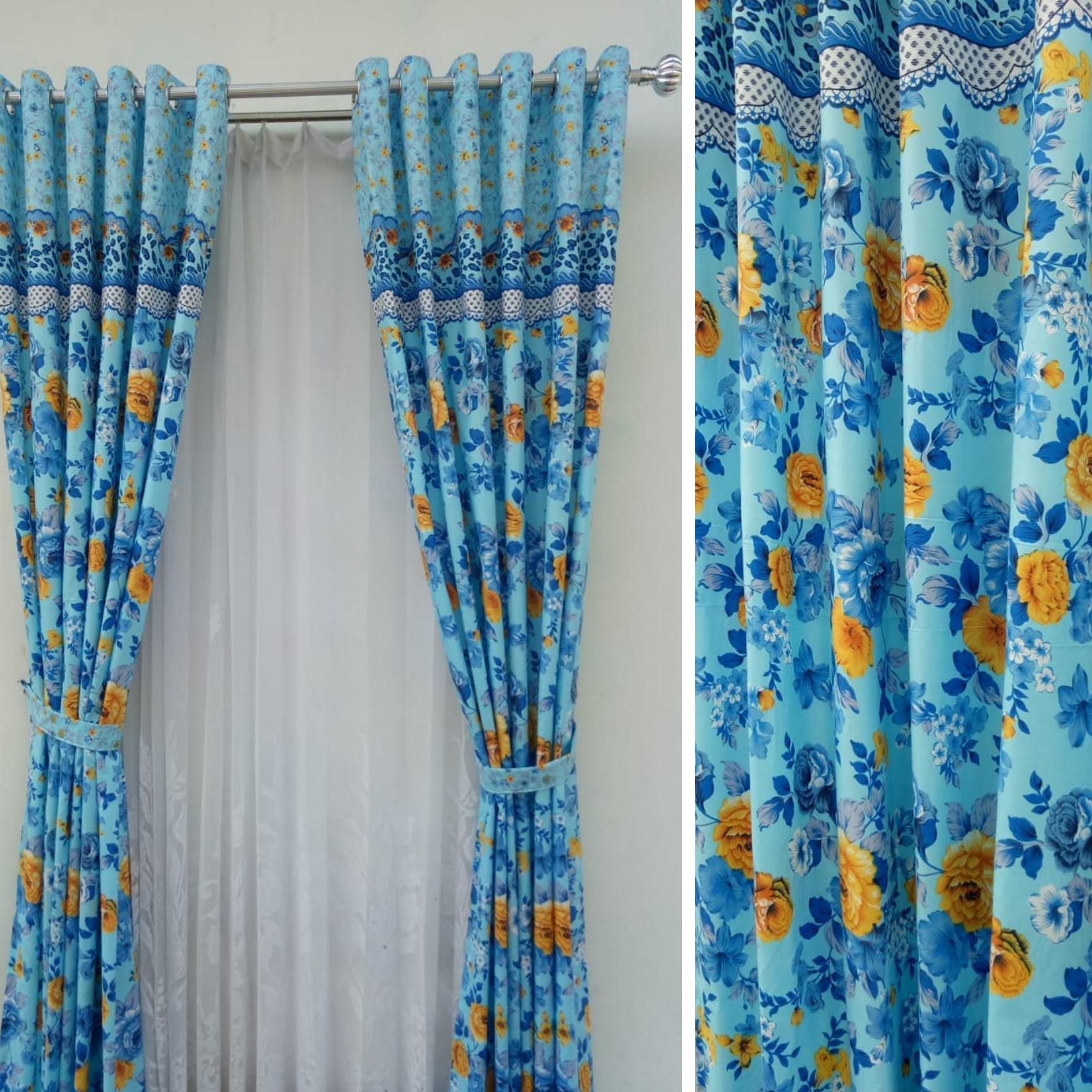 Gorden minimalis blackout shabby chic/motif/bunga/biru/terbaru