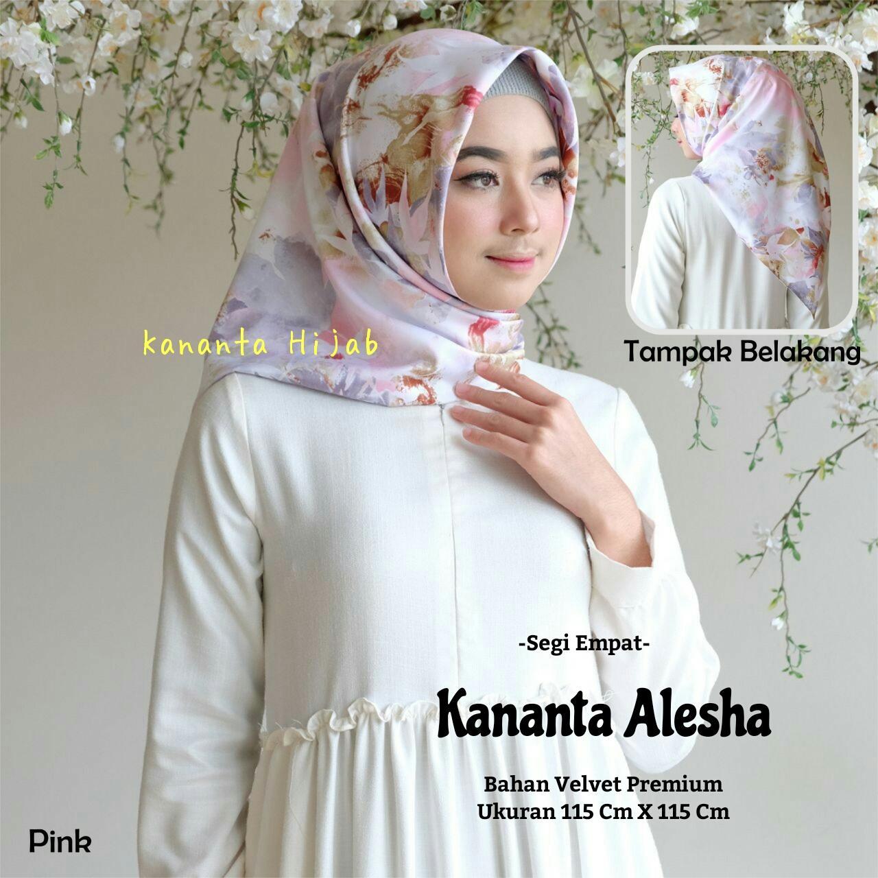 Hijab Segi Empat Motif Bunga Bahan Velvet Premium Kananta Alesha Segiempat