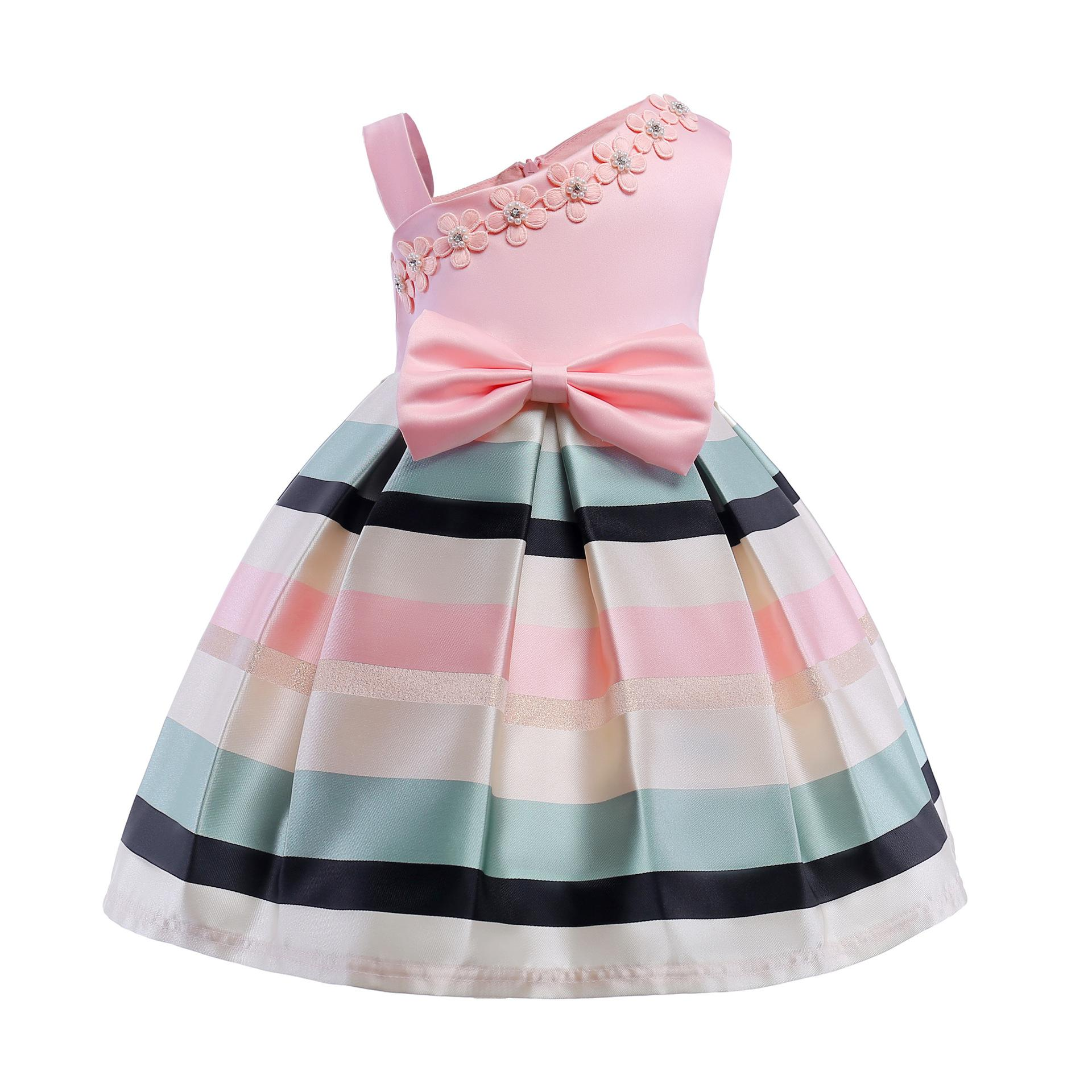 540e516dd108 New Hot Sale Girl Elegant Princess Dress Bow Folds Pearl Flower Horizontal  Stripes One Shoulder Party Wedding Evening Birthday Skirt for 3-9 Years ...