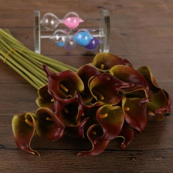 20 Pcs Calla Pengantin Pernikahan Bouquet Lateks Nyata Seperti Bunga Anggur Merah