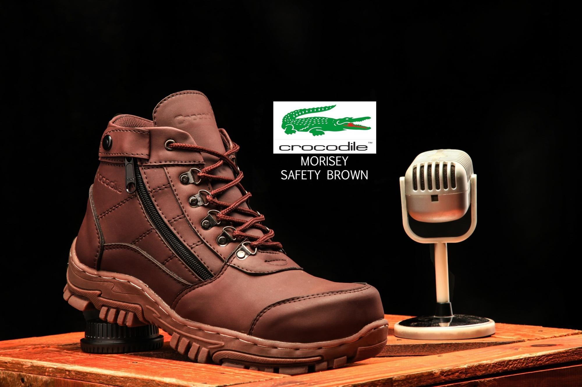 Promo Sepatu Boots Safety Resleting Proyek Kerja Lapangan Kulit Anti Air Crocodille Zipper Morisey Gagah Keren