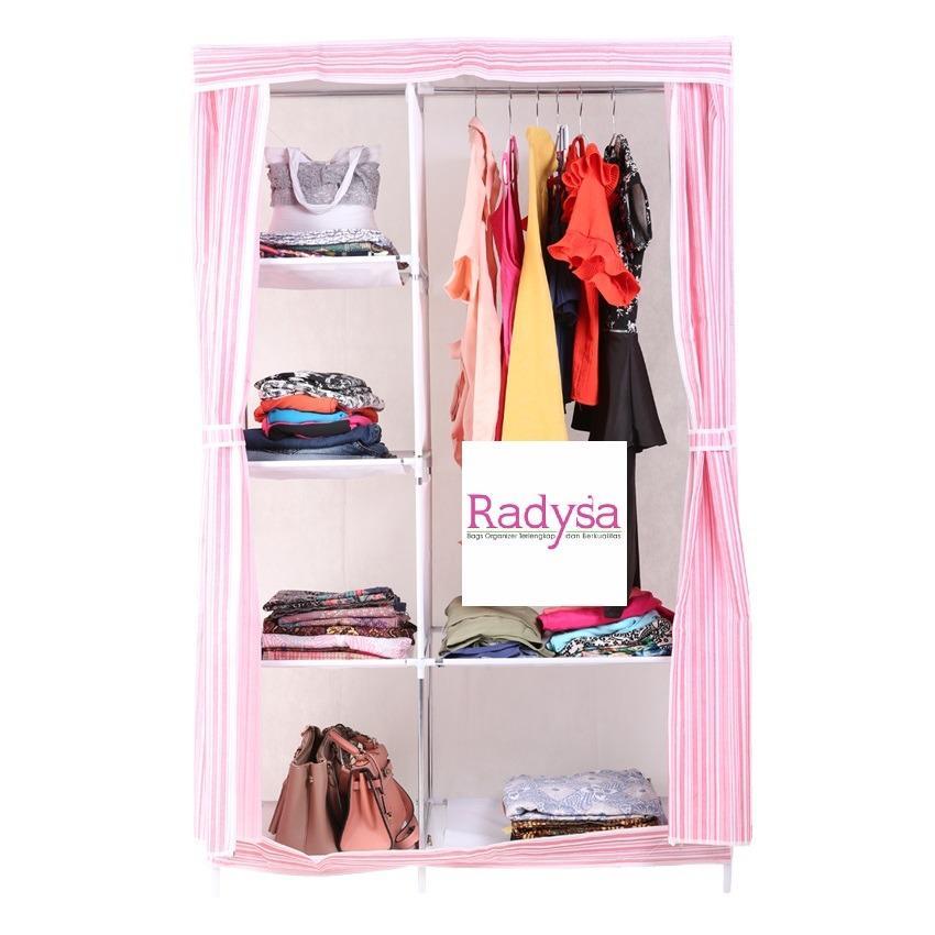 Allunique NEW Lemari Pakaian Portable - Salur Pink