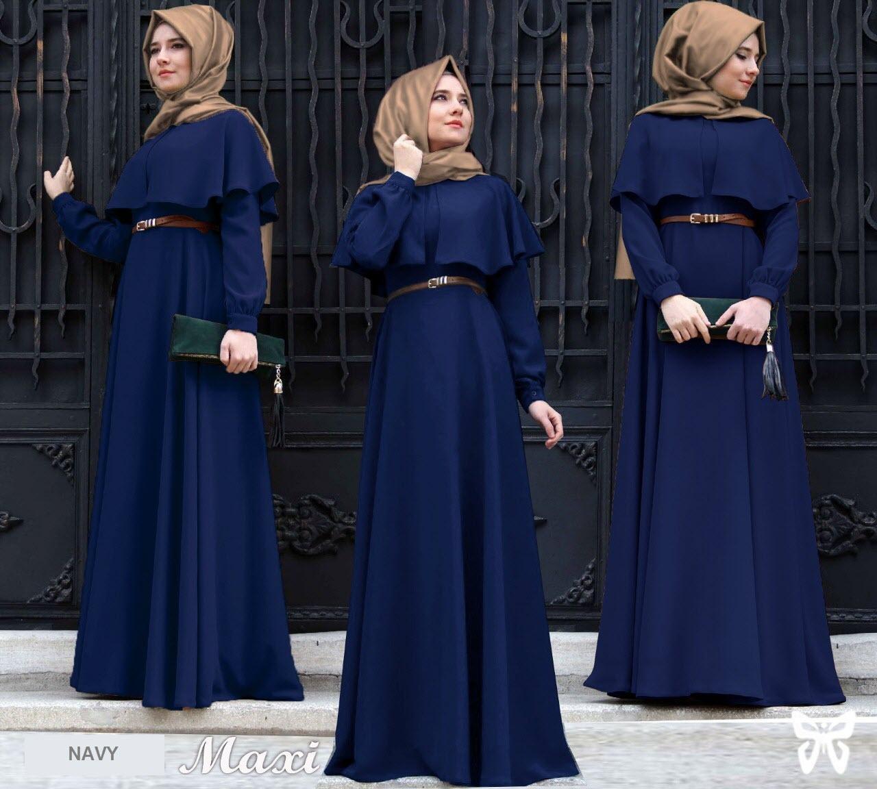 Flavia Store Maxi Dress Lengan Panjang Set 3 In 1 Fs0622 Navy Biru