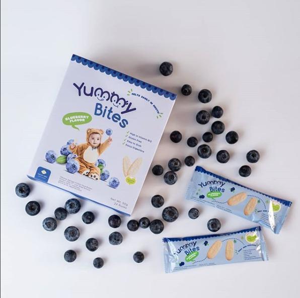 Arsyad Babyshop - Yummy Bites Biskuit Bayi Rasa Blueberry Kemasan 50 Gram - Makanan Pendamping Asi Dari Tepung Beras