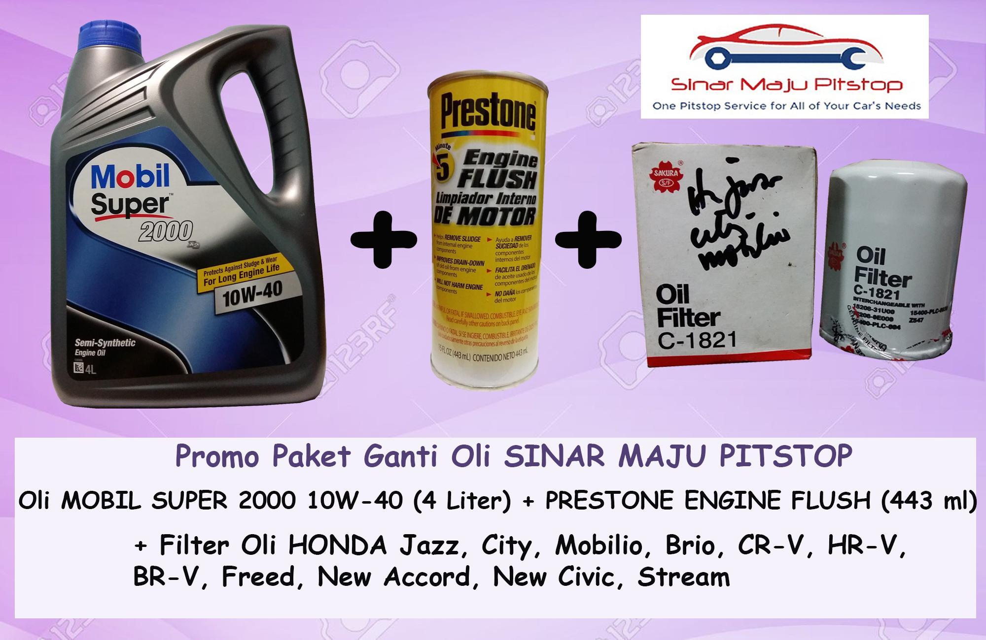 Promo Paket Ganti Oli MOBIL SUPER 2000 10W 40 API SN 4 LITER Prestone