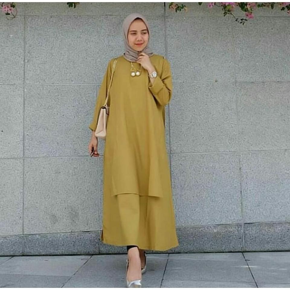 Ria_Store MC229 Carey Tunik Yellow // Busana Muslim Wanita MC229 Carey Tunik Yellow //