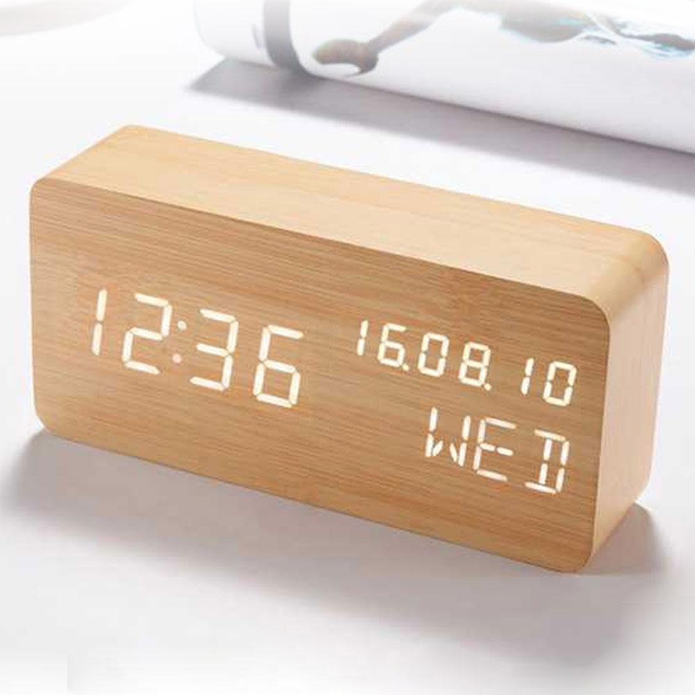 Jam Weker Kayu Digital Alarm Voice Control