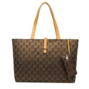 Yazhang Wanita Nilon Tote Tas Bahu Tas Tangan dengan Zipper untuk Belanja, Brown-Intl