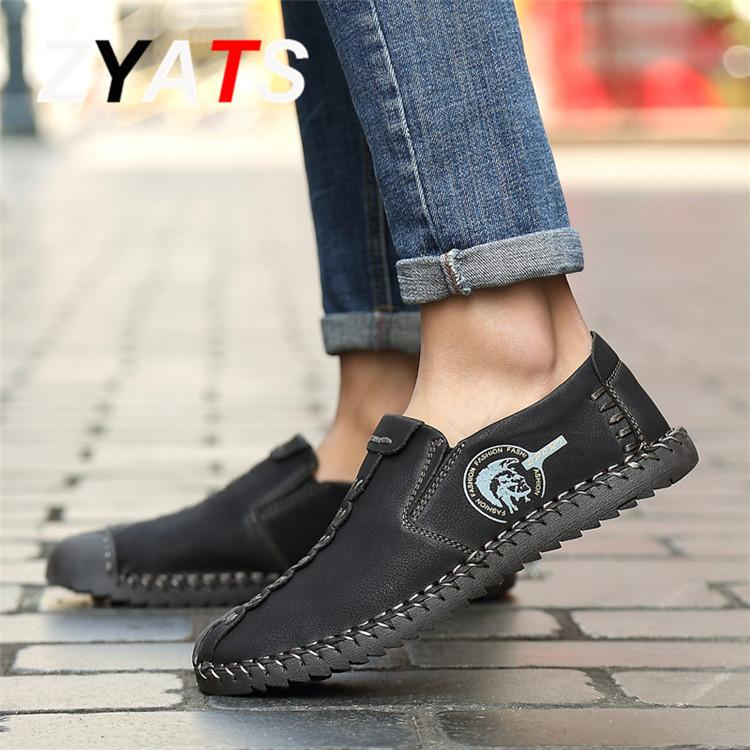 ZYATS Kulit Men's Flats Sepatu Moccasin Casual Loafers Besar Ukuran 38-46 Khaki