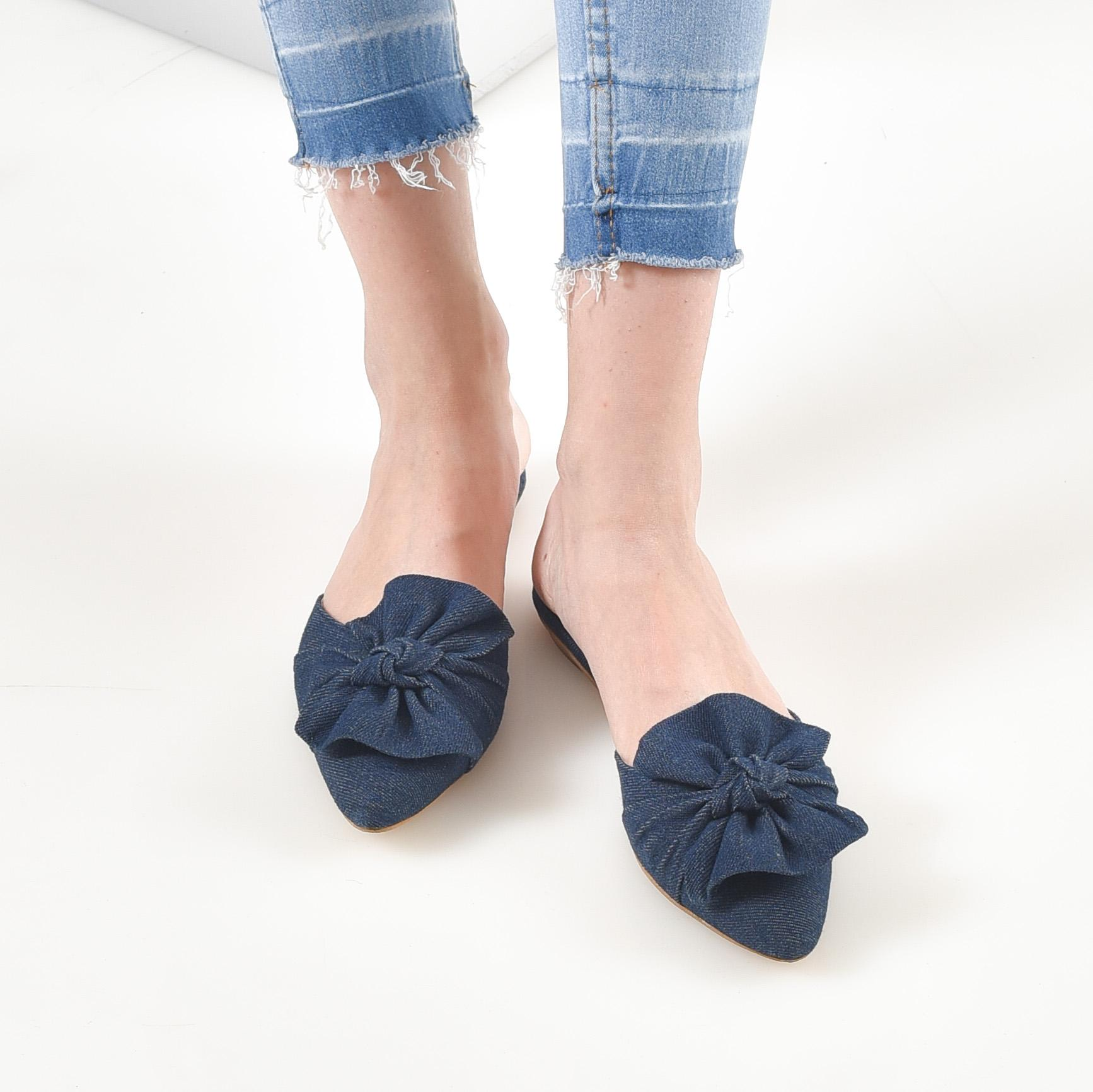 Bebbishoes-Puff Flat Shoes-Darkblue