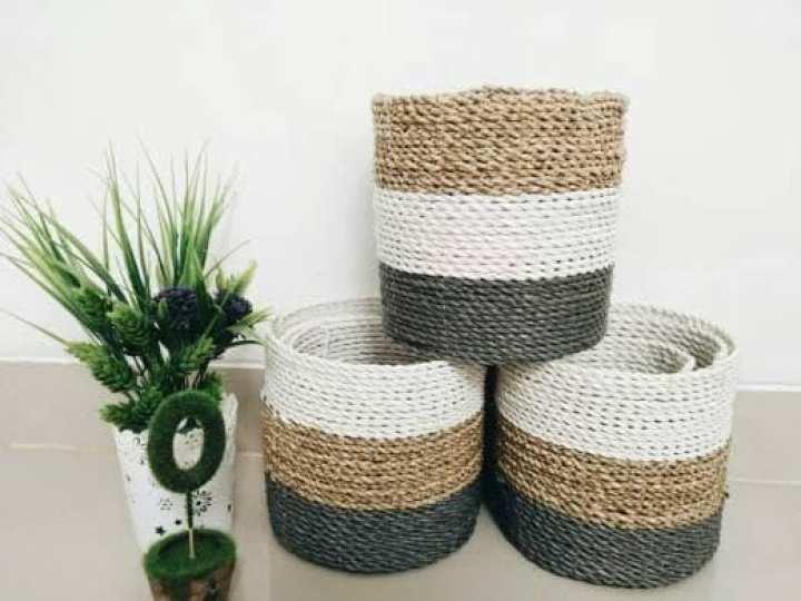 Keranjang Anyaman isi 3. Cover Pot, Keranjang Seagrass