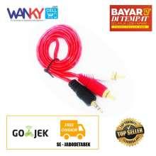 ... Kabel Aux 2in1 3.5mm Smartphones/Laptop/Tablet to Speaker - Merah