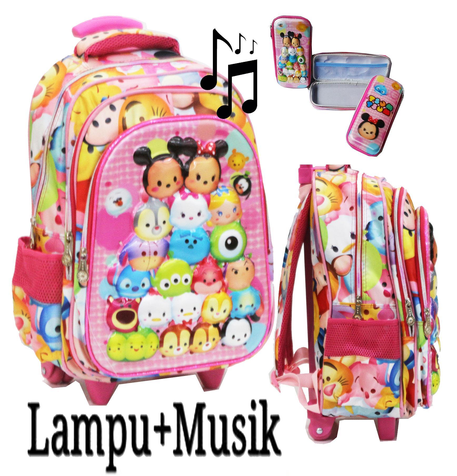 Onlan New Tas LAMPU dan MUSIC Trolley Anak SD 3 Kantung Besar Import Karakter Anak Perempuan Tsum Tsum 5D Timbul + Kotak Pensil