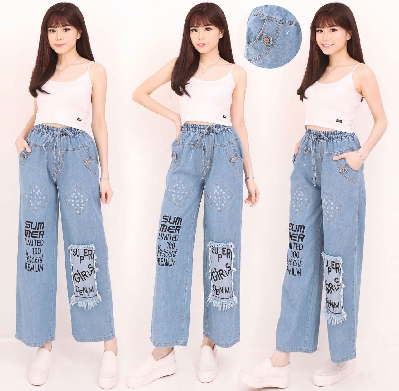 Miracle Celana Panjang Agnan Longpants Kulot Casual Jeans Wanita All Size Biru Muda