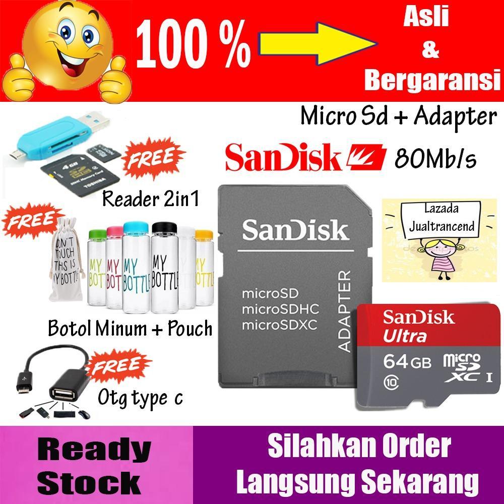Micro SD Card SanDisk 64GB Ultra CLASS10 80Mbps NEW - GARANSI RESMI Memory Hp + Gratis