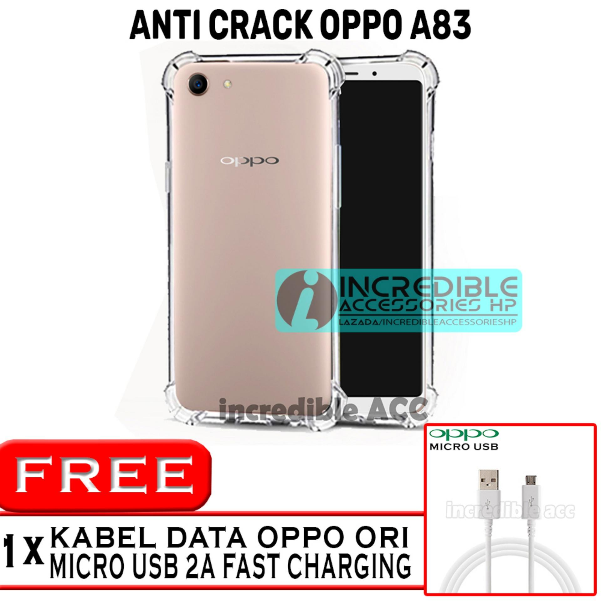 Oppo A83 Anti Crack Softcase Elegant Jelly Case - White Clear + Free Kabel data Oppo
