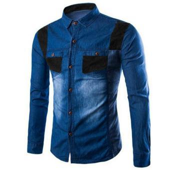 Kedai baju kemeja jeans pria murah berkualitas / Kemeja Jeans menloy biru tua - 7Z